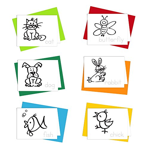 Note Cards - Little Buddies Greeting Cards for Kids to Color, Trace Letters and Practice Writing - Eco-friendly Stationery for Children - 100% Recycled Note Cards with Envelopes - Blank Inside
