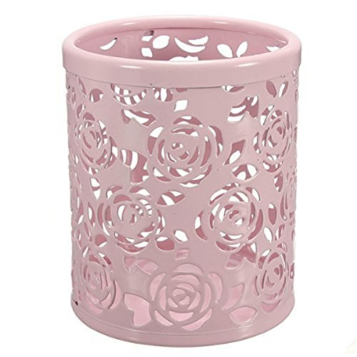 Cylinder Pen Pencil Pot Holder Container Organizer,Hollow Rose Flower Pattern (Flower Pattern Hollow)
