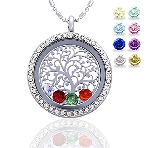 Family Tree of Life Birthstone Necklace Jewelry - Gifts for Mom Floating Charm Living Memory Lockets Pendant, Birthday Gifts, Christmas Day Gifts, Anniversary Thanksgiving Gifts - Ring Glass Floating