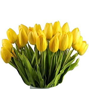 Fullkang 10pcs Tulip Artificial Flower Latex Real Touch Bridal Wedding Bouquet Home Decor (Yellow) 111