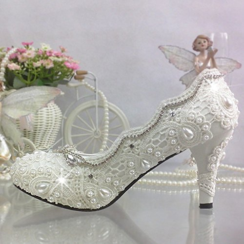 scarpe Bianco scarpe Nuziale Heeled Flower Strass Bianco Pizzo JINGXINSTORE matrimonio Crystal perla High Princess 4PFTqw