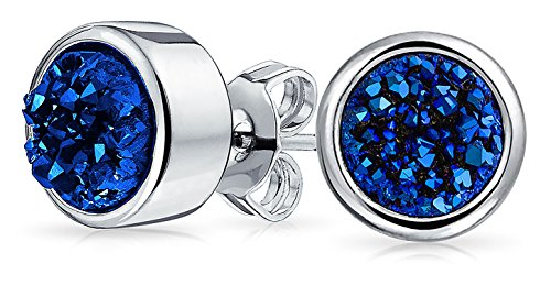 - Dyed Blue Druzy Quartz Stud Earrings 8MM Rhodium Plated