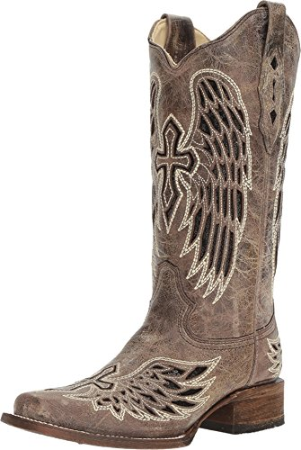 CORRAL Womens Brown - Black Wing & Cross Sequence Sq. Toe, Size: 7.5, Width: M (A1197-LD-M-7.5) (Corral Boots Women Cross)