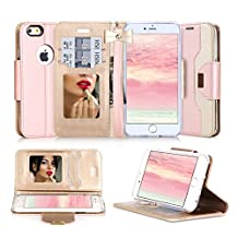 iPhone 6S Case, iPhone 6 Case, FYY Premium PU Leather Wallet Case with Cosmetic Mirror and Bow-knot Strap for iPhone 6S/6 (4.7 inch) Rose Gold