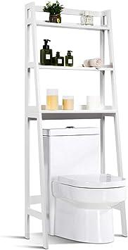 COSTWAY Estantería para Inodoro con 3 Estantes Mueble de Baño Ducha Estante 64x32x161centímetros para Lavadora Color Blanco
