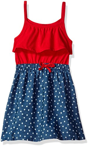 U.S. Polo Assn. Girls Ruffle Tank Top and Star Printed Denim Skirt Dress