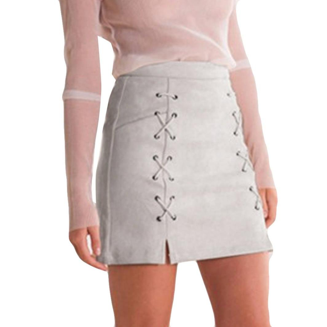 TOPUNDER Bandage Suede Fabric Mini Skirt Slim Seamless Stretch Tight Short Skirt For Women