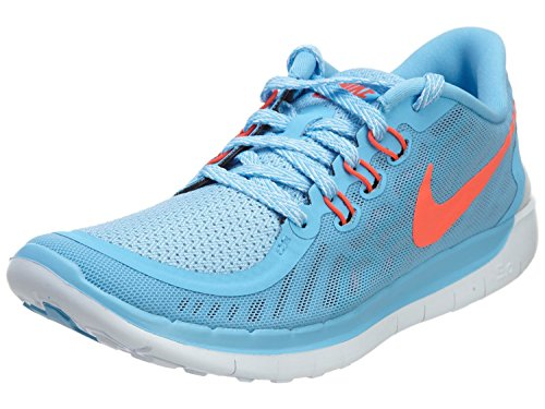 Girl's Nike Free 5.0 Running Shoe (GS) Blue/Crimson Size 4 M