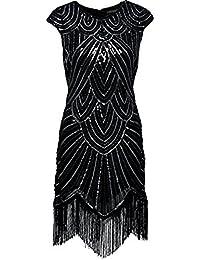 BABEYOND Women's Flapper Dresses 1920s Beaded Fringed Great Gatsby Dress