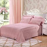 Fasisa Bedding Set - Flannel Fleece Cozy Warm Super Soft Plush Sheet Set - 1 Flat Sheet, 1 Fitted Sheet with 2 Pillowcases (King, Pink)