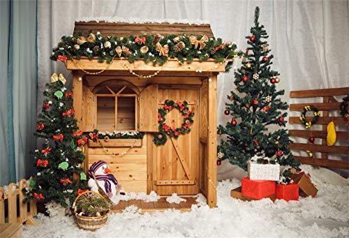 AOFOTO 10X7ft Christmas Background Decorated Xmas Tree Gift Cabin Little Wooden House Garland Wreath Snowman Snow Field Fencing Curtain Backdrop Baby Room Interior Party Festival Photo Booth Prop