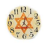 The Juicy Jew Shop Vintage Judaica Glass Meditation Clock Star of David, Jewish Gifts Clock Home Décor