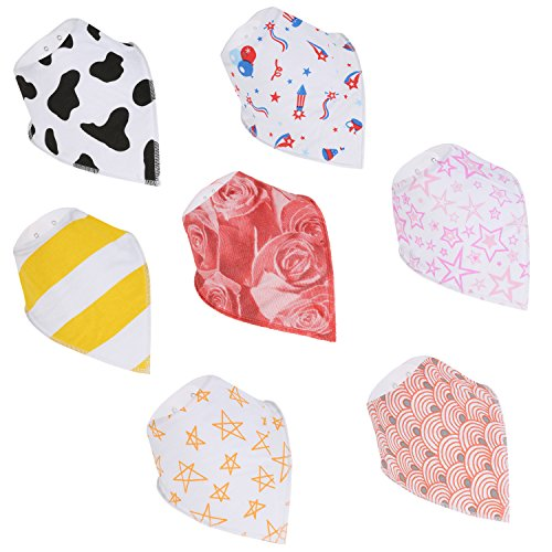 MOMANDWARMTH Baby Bibs Bandana Bib For Drooling And Teething 7 Pack Super Absorbent Hypoallergenic Unisex 100% Organic Cotton Drool Bibs Size 9.8x9.0x0.6 Inch (1959 Les Paul Reissue)