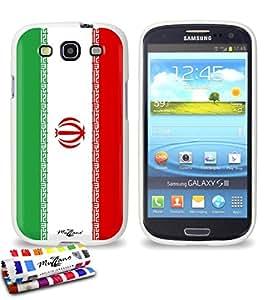 Carcasa Flexible Ultra-Slim SAMSUNG GALAXY S3 / I9300 de exclusivo motivo [Iran Bandera] [Blanca] de MUZZANO  + ESTILETE y PAÑO MUZZANO REGALADOS - La Protección Antigolpes ULTIMA, ELEGANTE Y DURADERA para su SAMSUNG GALAXY S3 / I9300