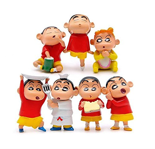 NEW 7pcs New Cartoon Crayon Shin-chan Cate Version Action Figure Micro landscape