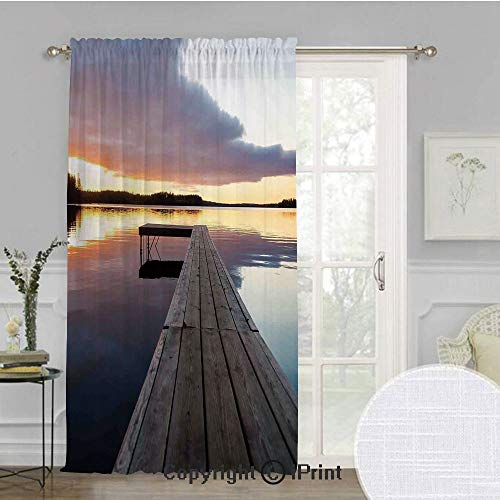 (Art Extra Wide Chiffon Sheer Curtain,View of Sunset Over an Old Oak Deck Pier and Calm Water of The Lake Horizon Serenity,for Large Window/Sliding Glass Door/Patio)