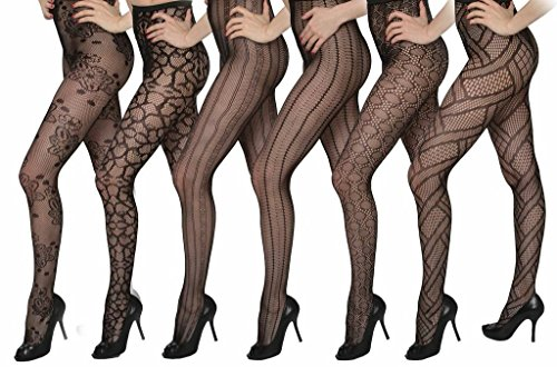 Isadora Paccini Women's 6-Pack Fishnet Lace Pantyhose Tights, One Size Fits Most, Black ()