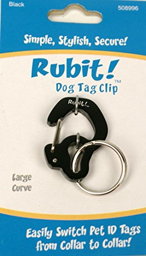 Rubit The Easy Dog Tag Curve Shape Switch Clip. Large Black