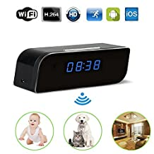 Hualite Hidden Camera, WiFi Spy Alarm Clock Camera 1080P HD Motion Activated Detector App Real Time Night Vision Audio and Video Recorder Remotely Monitoring for bay and Home Security, for IOS and Andriod
