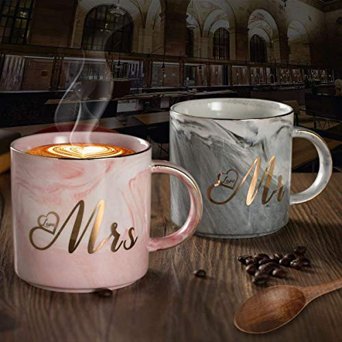 Ylyycc Mr Mrs Ceramic Coffee Mugs - Gift for Wedding Engagement Bridal Shower and Married Couples Anniversary Valentine's day - Marble Cups Set 11.5 oz 2pcs (Gray -