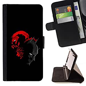 DEVIL CASE - FOR Samsung Galaxy S6 - Bat & Villain Superheroes - Style PU Leather Case Wallet Flip Stand Flap Closure Cover