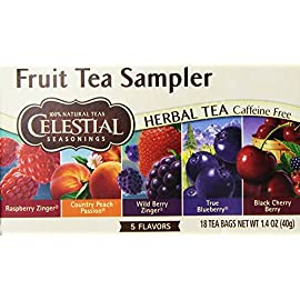 Celestial Seasoning Fruit Tea Sampler 18 bags (Two Boxes) 1 <p>Celestial Seasoning Fruit Tea Sampler 18 bags (Two Boxes) Fruit Tea Sampler/100% Natural Teas Raspberry Zinger, Country Peach Passion, Wild Berry Zinger True Blueberry, Black Cherry Berry Gluten Free Naturally Caffeine Free</p>