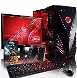VIBOX Scope Pack 4 PC Gamer - 3,9GHz APU Dual Core AMD A4, GPU GT 710, Famille, Multimédia, Ordinateur PC de Bureau Gaming paquet de jeux, avec Écran, Éclairage Interne Rouge (3,7GHz (3,9GHz Turbo) Processeur APU/CPU Dual Core AMD A4-6300 Ultra Rapide, Carte Graphique Dédiée Nvidia GeForce GT 710 1 Go, 8 Go Mémoire RAM DDR3 1600MHz Grande Vitesse, Disque Dur Sata III 7200rpm 1 To (1000 Go), PSU 400W 85+, Boîtier Gamer Vibox Commando Rouge LED, Pas de Système d'Exploitation Windows)