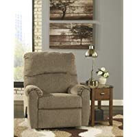 Pranit 1610129 35 Zero Wall Recliner with Rich Herringbone Chenille Upholstery Padded Arms and Divided Back in Cork Color