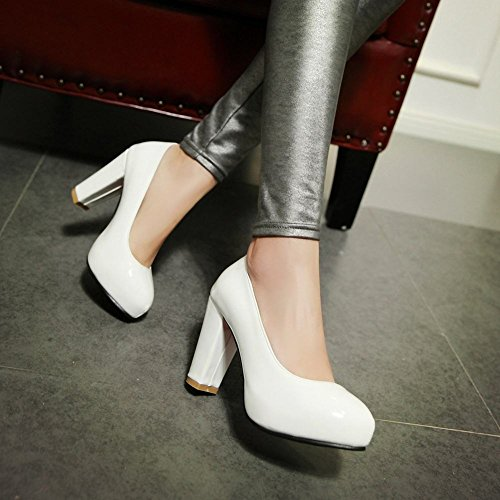 Mee Shoes Damen süß hocher Absatz Lackleder Pumps Weiß