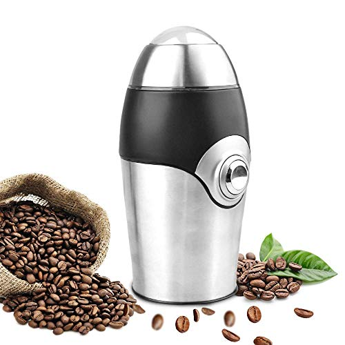 Coffee Grinders,200W,One-Touch-Blade-Grinder,Stainless Steel Powder Coffee Beans Grinding Machine (1.41oz)