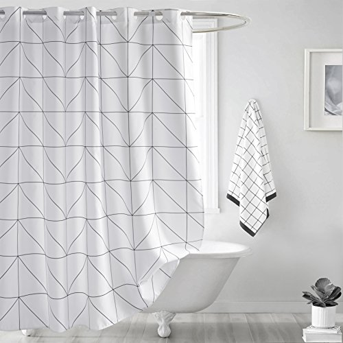 Fabric Shower Curtain, Seavish White Geometric Mildew Resist