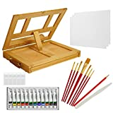 US Art Supply Wood Easel Box Set with 12 Colors, Canvas, 2-Brushes, Plastic Palette & Palette Knives