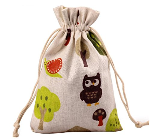 Meta-U® 12pcs Double Drawstring Small Linen Bags Burlap Drawstring Bag/ Gift Bag Pouch for Party / Wedding (13*17cm(5.2*6.8inch), tree and mushroom)