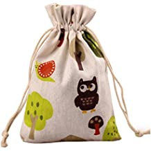 Meta-U Burlap Bags With Drawstring- Storage Bag- Sachets Bag- Gift Pouch For Party | Wedding-12pcs (1723cm(6.89.2), tree and mushroom)