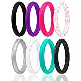 ROQ Silicone Wedding Ring for Women, Set of 8 Thin Stackable Silicone Rubber Wedding Bands Point- Turquoise, Pink, Purple, Black, White, Silver, Black/Turquoise Glitter, White/Pink Glitter - Size 5