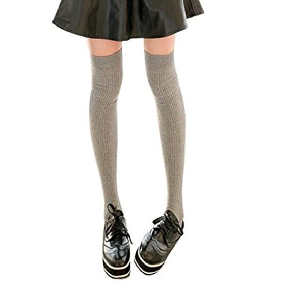 Eurgoo Calcetines de mujer sobre la rodilla, calcetines de niñas, Medias de tejer para