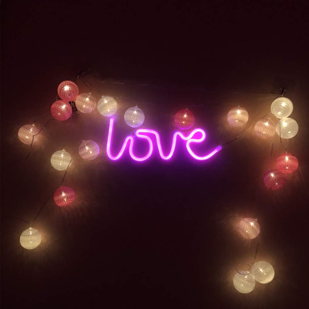 LIKO HOME Love Neon Signs Pink Love LED Neon Light Sign for Party Supplies Girls Room Decoration Accessory for Luau Summer Party Table Decoration Children Kids Gifts