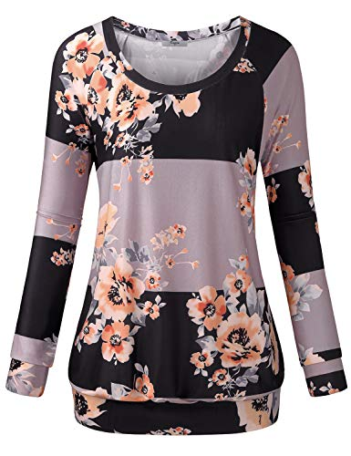 Cestyle Printed Sweatshirt,Womens Full Sleeve Boat Neck Floral Pattern Striped Tunic Sweater for Leggings Juniors Asymmetry Color Block Banded Bottom Sweatshirts Grey X-Large (Banded Bottom Tunic)