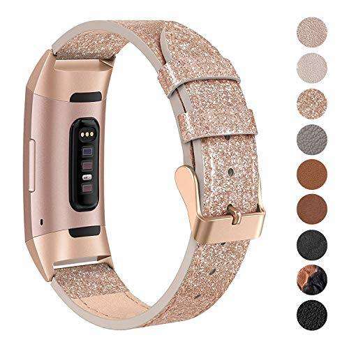 SWEES Leather Bands Compatible for Charge 3 & Charge 3 SE Fitness Tracker, Genuine Leather Band Strap Wristband Replacement for Women Men Small Large, Black, Rose Gold, Beige, Brown, Grey, Tan
