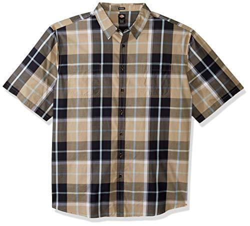 3x Work Shirt - Dickies Men's Yarn Dyed Plaid Short Sleeve Shirt Big-Tall, Rinsed Desert Khaki, 3X