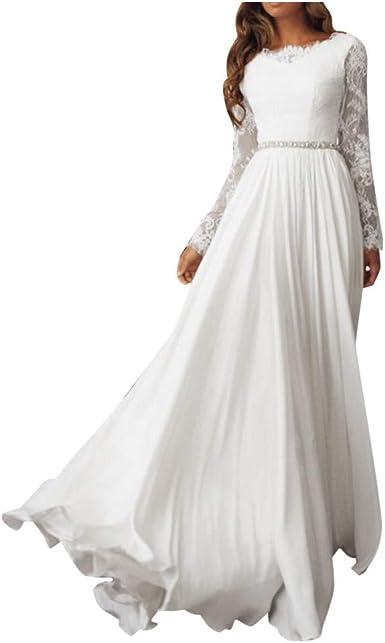 TOPKEAL Elegante Vestido Blanco de Manga Larga Hueco de Encaje de ...