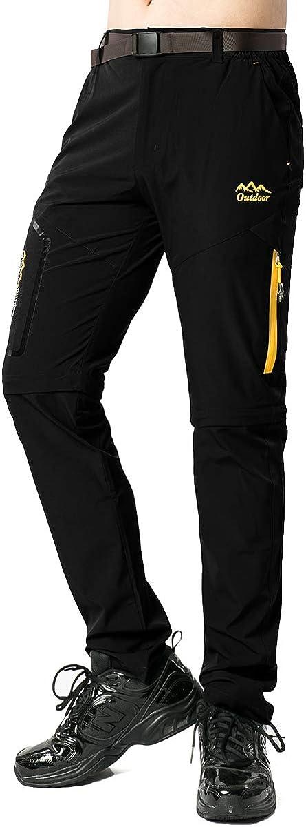 Womens Hiking Stretch Pants Convertible Quick Dry Lightweight Zip Off Outdoor Travel Safari Pants 5818,Black 28