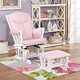 Lennox Furniture Glider Chair and Ottoman Set - White/Pink dot Cotton