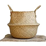 "Natural Seagrass Belly Basket with Handles, Large Storage Laundry Basket (12.6"" Diameter x 11"" Height, Natural)"