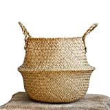 """Natural Seagrass Belly Basket with Handles, Large Storage Laundry Basket (12.6"""" Diameter x 11'' Height, Natural)"""