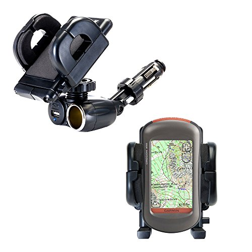 Dual Car Cigarette Lighter Charger Mount and Holder for the Garmin Oregon 450 450t 550 550t Features 12V Adapter and Charging USB Port
