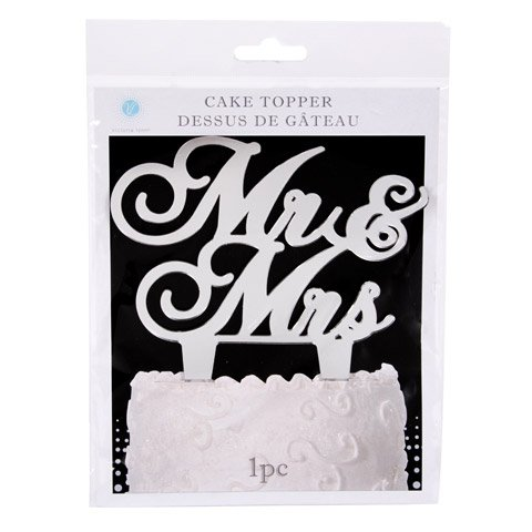 Victoria Lynn Mr and Mrs Cake Topper - Silver Mirror - 6