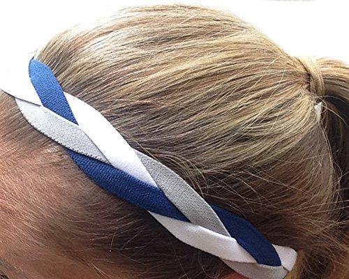IT'S RIDIC! No Slip Grip/Non-Slip Sports/Athletic Nylon Triple Braided Sports Headband (Navy Blue | White |G -