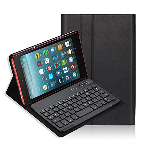Fire HD 8 Keyboard Case, iThrough Removable Wireless Bluetooth Keyboard with Stand Magnetically, Bluetooth V3.0 Keyboard with Slim Light Stand Cover Shell for Fire 8 (7th Gen–2017 Release) (Black.) by iThrough