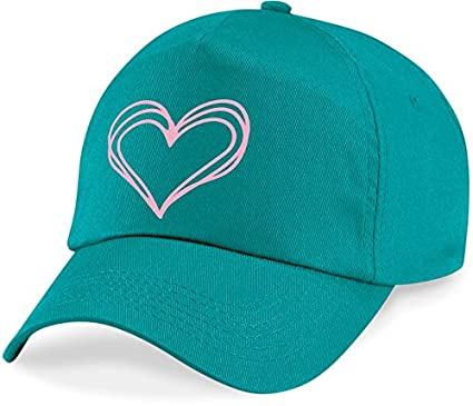 laylawson Girls Scribble Doodle Heart Baseball Cap Kids Childrens Pink Love Summer Hat